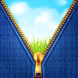 Vectors jeans background with a zipper Stock Photography