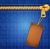 Vectors jeans background with a zipper and label. The Vectors jeans background with a zipper and label Royalty Free Stock Photo