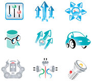 Vectors kit for logo development. Nine vectors objects for create new logo royalty free illustration