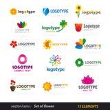 Insieme di logo del fiore Immagine Stock