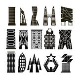 Vectors set building black and white Royalty Free Stock Images