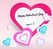 Vectors set of hearts size for happy Valentine festival card on light pink background, elements of love, Fold the paper into a hea vector illustration