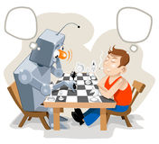 Vectors of Super Chess game. Vectors picture about Human playing chess with Super Robot. Man to be sure about his next win stock illustration