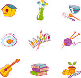 Vectors of various popular hobbies. Illustrations of home hobby elements royalty free illustration