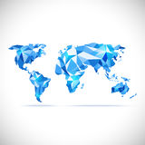 Vectors World Map polygonal precision low-poly blue Stock Photos