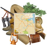 Vectorsafari concept met Kaart Stock Afbeeldingen