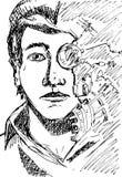 Vectorsamenvatting cyberpunk/science fictiongezicht van een jonge mens royalty-vrije illustratie