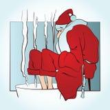 Vectorsanta verwarmt bevroren voeten in warm water Stock Foto