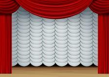 Vectorscène met Witte en Rode Gordijnen Royalty-vrije Stock Afbeelding