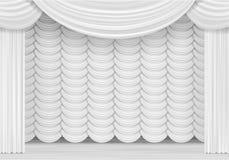 Vectorscène met Witte Gordijnen Royalty-vrije Stock Fotografie