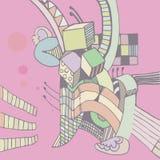 vectorschets met kubussen Stock Afbeelding