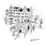 Vectorschets van de stad van Amsterdam Santa Claus en een meisje - de lente vector illustratie
