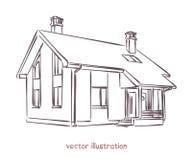 Vectorschets van individueel huis vector illustratie