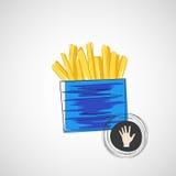 Vectorschets van karton met frieten Royalty-vrije Stock Afbeeldingen