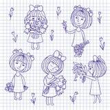 Vectorschets van meisje en bloemen Stock Fotografie