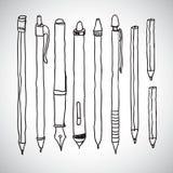 Vectorschets van potloden en pennen Stock Foto's