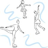 Vectorschets van schaatsers. Vector Illustratie