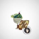 Vectorschets van smakelijke desserts en gebraden vissen Royalty-vrije Stock Afbeelding