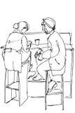 Vectorschets van twee vrouwen die op hoge krukken koffie drinken Royalty-vrije Stock Afbeelding