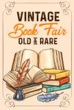 Vectorschetsaffiche van oude zeldzame uitstekende boeken stock illustratie