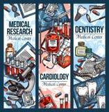 Vectorschetsbanners voor tandheelkunde en cardiologie Royalty-vrije Stock Foto's