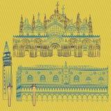 Vectorschetsen van het Doges` Paleis, St Teken` s Basiliek, Heilige Mark Campanile en de Kolommen van San Marco en San Teodoro royalty-vrije illustratie