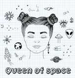 Vectorschetshand getrokken illustratie van het surreal meisje dromen over kosmos met gesloten ogen, cybernetische stickers, meisj vector illustratie