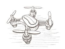 Vectorschetsillustratie met Onbemand luchtvoertuig Stock Foto