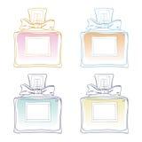 Vectorschetsillustratie van Franse in parfumflessen Verschillend bloemenaroma Voor kaartontwerp, druk, affiche, invitaion Stock Fotografie