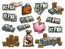 Vectorschetspictogrammen van gelddollars en muntstukken Stock Afbeelding