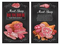 Vectorschetsworsten en vlees voor slagerij vector illustratie
