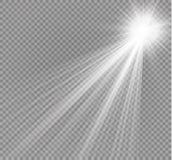 Vectorschijnwerper Lichte die effectlightstraal op transparante achtergrond wordt geïsoleerd Vector illustratie stock illustratie