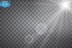 Vectorschijnwerpers scène Grote partij en prestaties Vector transparant de gloed lichteffect van de zonlicht speciaal lens Zonfli royalty-vrije illustratie