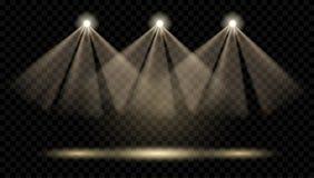 Vectorschijnwerpers Verlichting van de scène Transparant licht vector illustratie
