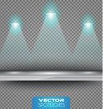 Vectorschijnwerpersscène met verschillende bron die van lichten aan de vloer of de plank richten royalty-vrije illustratie