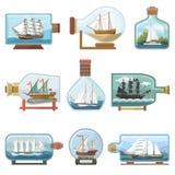 Vectorschip in flessenboot in miniatuurzeilbootherinnering in glaskruik met cork geïsoleerd verschepen ouvenir in fles vector illustratie