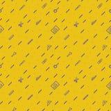 Vectorschoolpatroon op gele achtergrond Stock Afbeeldingen