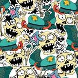 Vectorseamlespatroon Gekke zombie stock illustratie