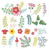 Vectorset met uitstekende bloemenpunten Bloemen, takken, bessen Stock Foto