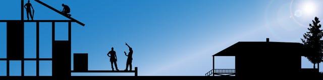 Vectorsilhouet van arbeiders Stock Afbeelding