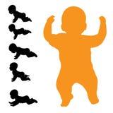 Vectorsilhouet van baby Stock Afbeelding