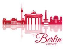 Vectorsilhouet van Berlijn, Duitsland Stock Fotografie