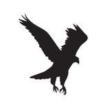 Vectorsilhouet van de Roofvogel tijdens de vlucht met uitgespreide vleugels stock illustratie