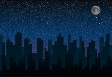 Vectorsilhouet van de stad Sterhemel Eps 10 Stock Afbeelding
