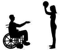 Vectorsilhouet van een gehandicapte mens in een rolstoel en zijn vrouw die togethe spelen vector illustratie