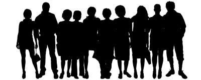 Vectorsilhouet van een groep mensen Stock Afbeeldingen