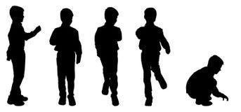 Vectorsilhouet van een jongen Stock Fotografie