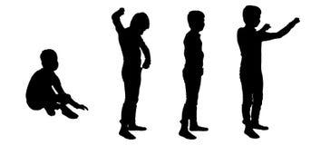 Vectorsilhouet van een jongen Stock Afbeeldingen