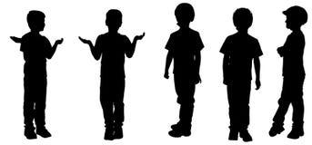 Vectorsilhouet van een jongen Stock Afbeelding