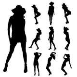 Vectorsilhouet van een vrouw Stock Afbeelding